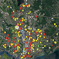 Map of repaired and unrepaired leaks in Beverly, Massachusetts